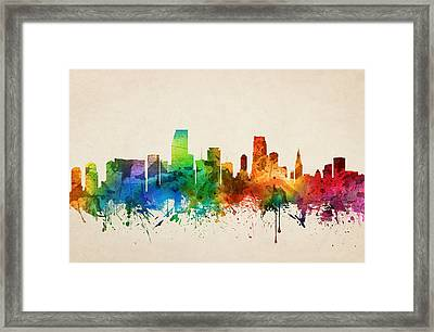 Miami Florida Skyline 05 Framed Print by Aged Pixel