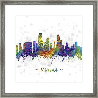 Miami Florida Skyline Color 03sq Framed Print by Aged Pixel