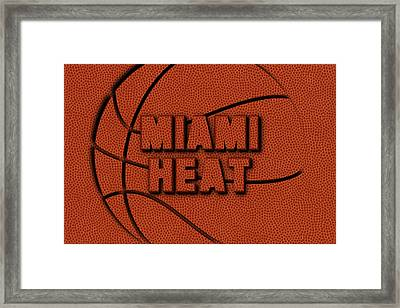 Miami Heat Leather Art Framed Print by Joe Hamilton