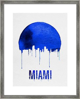 Miami Skyline Blue Framed Print by Naxart Studio