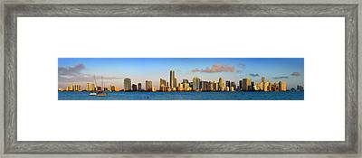 Miami Skyline In Morning Daytime Panorama Framed Print by Jon Holiday
