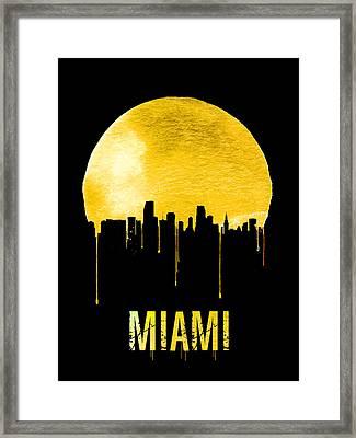 Miami Skyline Yellow Framed Print by Naxart Studio