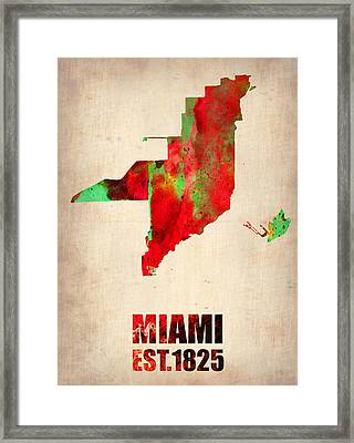 Miami Watercolor Map Framed Print by Naxart Studio