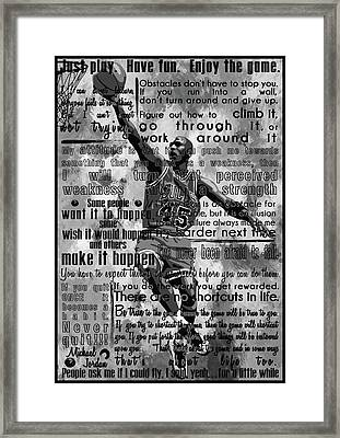 Michaeil Air Jordan Motivational Inspirational Independent Quotes 1 Framed Print by Diana Van