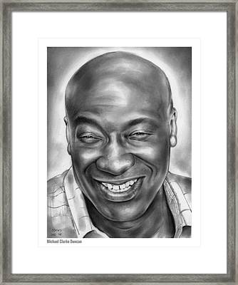 Michael Clarke Duncan Framed Print by Greg Joens