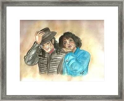 Michael Jackson And Oprah Framed Print by Nicole Wang