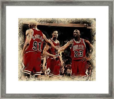 Michael Jordan And Crew Framed Print by Brian Reaves