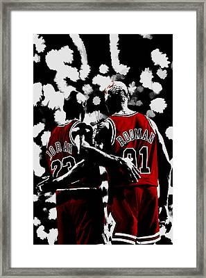 Michael Jordan And Dennis Rodman Last Stand Framed Print by Brian Reaves
