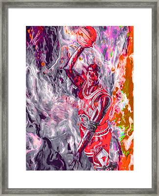Michael Jordan Chicago Bulls Digital Painting Framed Print by David Haskett
