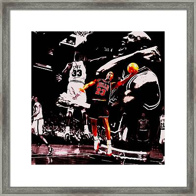 Michael Jordan Going Left Hand Framed Print by Brian Reaves