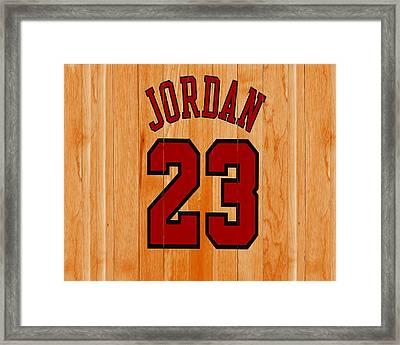 Michael Jordan Hardwood Floor Framed Print by Brian Reaves