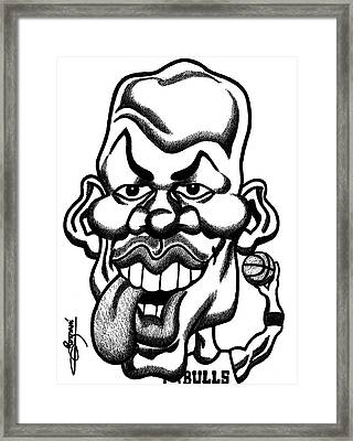 Michael Jordan Tongue Out Caricature  Framed Print by Miguel Romani