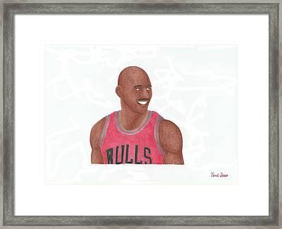 Michael Jordan Framed Print by Toni Jaso
