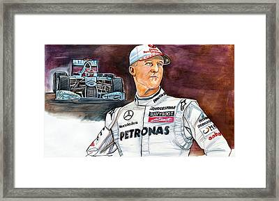 Michael Schumacher Framed Print by Dave Olsen