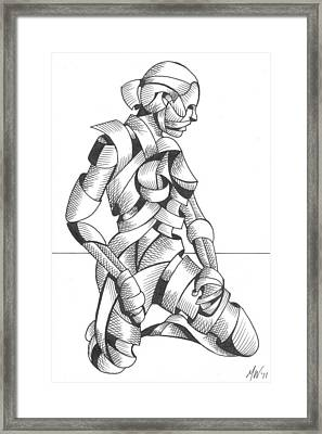 Michaela - Abstract Nude Figurative Pen And Ink Drawing Framed Print by Mark Webster
