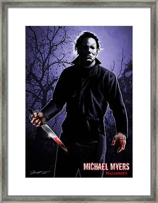Micheal Myers With Bloody Knife In Hand Framed Print by Jeremy Tisler
