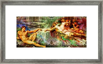 Michelangelo The Creation Of Adam In Abstract Space 20150622 Framed Print by Wingsdomain Art and Photography