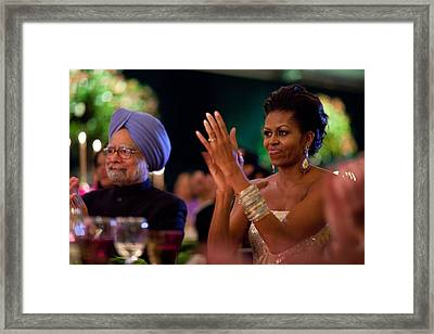 Michelle Obama Applauds Framed Print by Everett