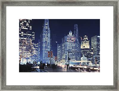 Michigan Avenue Traffic At Night Framed Print by Axiom Photographic