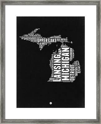 Michigan Black And White Word Cloud Map Framed Print by Naxart Studio