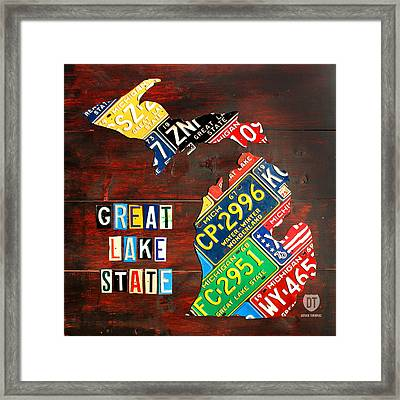 Michigan License Plate Map Framed Print by Design Turnpike