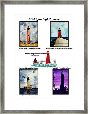 Michigan Lighthouses Collage Framed Print by Michael Vigliotti