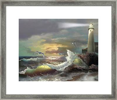 Michigan Seul Choix Point Lighthouse With An Angry Sea Framed Print by Gina Femrite