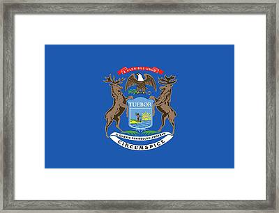 Michigan State Flag Framed Print by American School