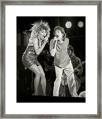 Mick And Tina At Live Aid 1985 Framed Print by Chuck Spang