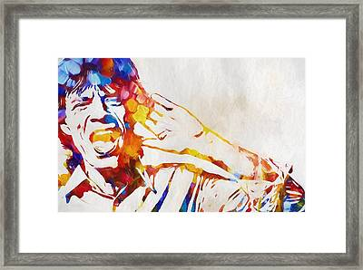 Mick Jagger Abstract Framed Print by Dan Sproul