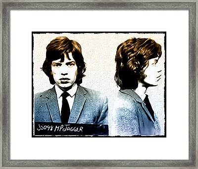 Mick Jagger Mugshot Framed Print by Bill Cannon