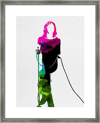 Mick Watercolor Framed Print by Naxart Studio