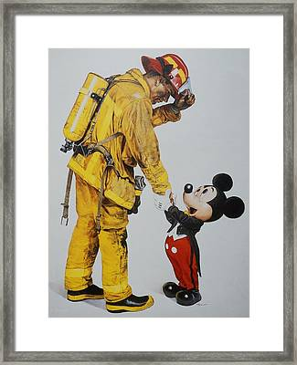 Mickey And The Bravest Framed Print by Rob Hans