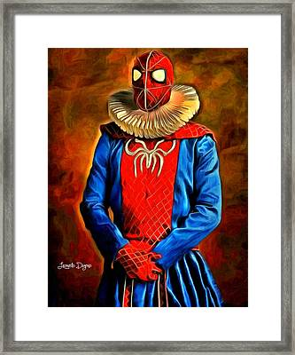 Middle Ages Spider Man Framed Print by Leonardo Digenio