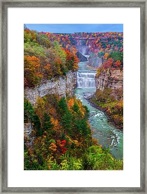 Middle Falls Of Letchworth State Park Framed Print by Mark Papke