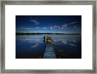 Midnight At Shady Shore On Moose Lake Minnesota Framed Print by Alex Blondeau