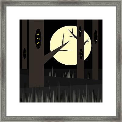 Midnight Eyes - Halloween Framed Print by Val Arie