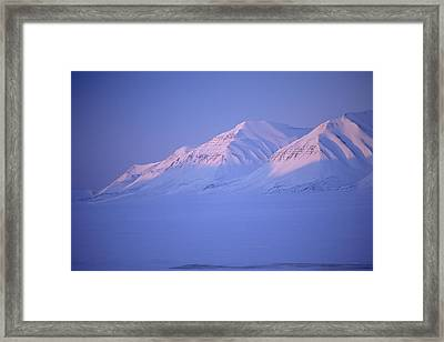 Midnight Sunset On Polar Mountains Framed Print by Gordon Wiltsie