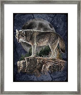 Midnight Wolf Framed Print by JQ Licensing