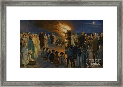 Midsummer Eve Bonfire On Skagen Beach Framed Print by Celestial Images