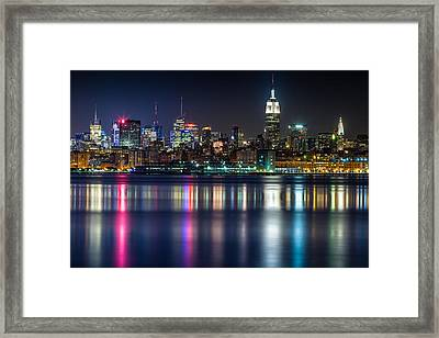 Midtown Manhattan From Jersey City At Night Framed Print by Val Black Russian Tourchin