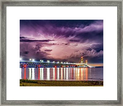 Mighty Mac Under Electric Skies Framed Print by J Thomas