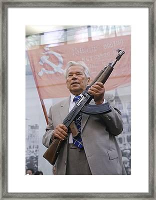 Mikhail Kalashnikov, Russian Gun Designer Framed Print by Ria Novosti