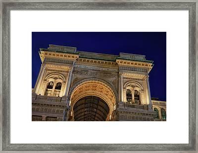 Milan Galleria Night Framed Print by Joan Carroll
