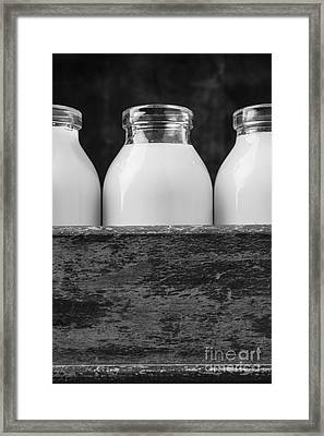 Milk Bottles 3 Black And White Framed Print by Edward Fielding