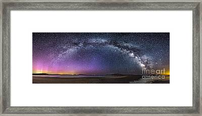 Milky Way Panorama With Northern Lights At Popham Beach Framed Print by Benjamin Williamson