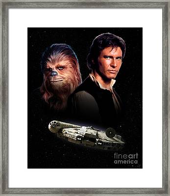 Han Solo - Millenium Falcon Framed Print by Paul Tagliamonte