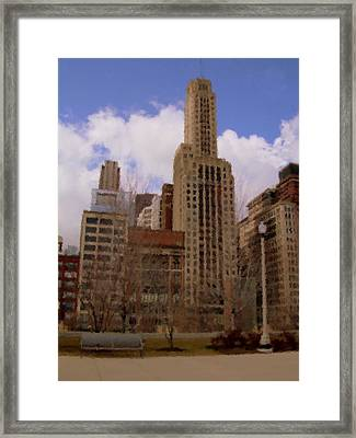 Millenium Park And Bench 1 Framed Print by Anita Burgermeister