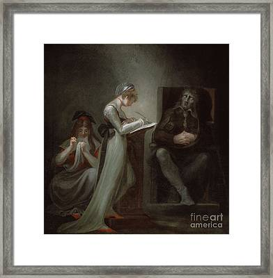 Milton Dictating To His Daughter Framed Print by Henry Fuseli