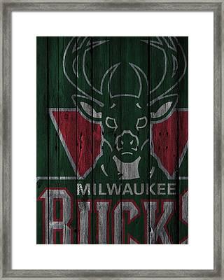 Milwaukee Bucks Wood Fence Framed Print by Joe Hamilton